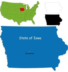 Iowa map vector image vector image