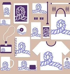 Nautical identity set with swirled rope vector image
