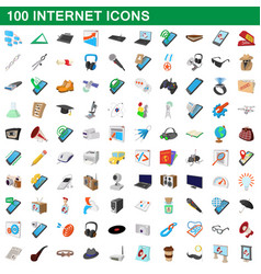 100 internet icons set cartoon style vector image vector image
