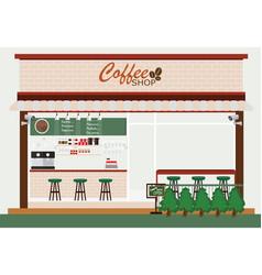 coffee shop building and interior vector image vector image