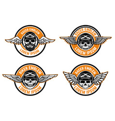 racer emblems set of winged emblems with skulls vector image vector image