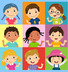 set of different kids with various postures vector image vector image