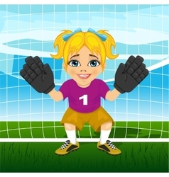 Young female goalkeeper in a ready position vector image vector image
