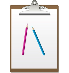 clipboard and pencils vector image