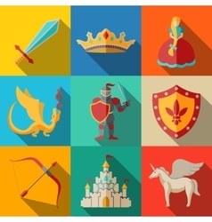 Flat icons set fairytale game - sword bow vector image