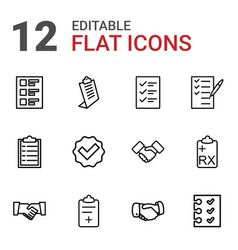 12 agreement icons vector