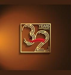 32 years anniversary logotype golden color vector