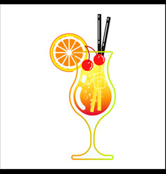 Alcoholic cocktail in a glass vector