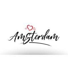 Amsterdam europe european city name love heart vector