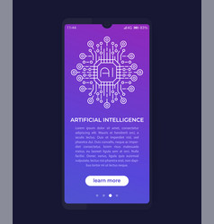Artificial intelligence ai in mobile app ui vector