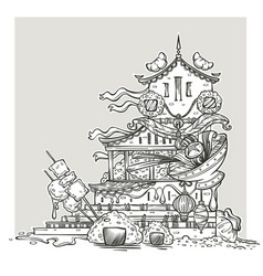 asian food temple line art fantasy image for your vector image