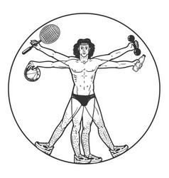 Athlete vitruvian man sketch engraving vector