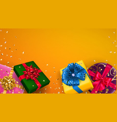 Background with multicolored gift boxes vector