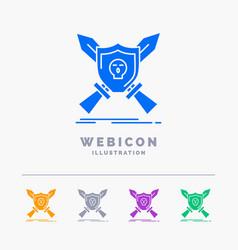 badge emblem game shield swords 5 color glyph web vector image