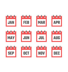 Calendar 12 month icon set color signs for all vector