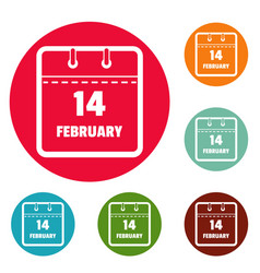 calendar fourteenth february icons circle set vector image