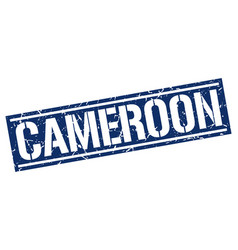 Cameroon blue square stamp vector
