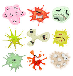 Cartoon germs virus and microbes vector
