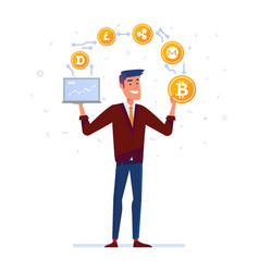 Caucasian man juggles with crypto currency coins vector