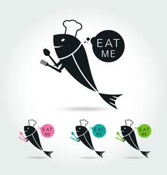 Chef fish logo vector