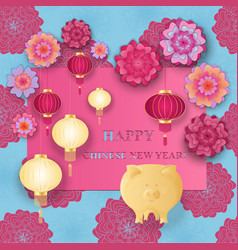 chinese new year 2019 yellow earth pig paper vector image