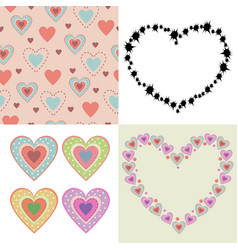 colored lovely hearts vector image