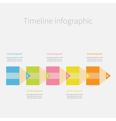 Colorful pencil arrow line Five step Timeline vector