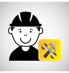 construction worker wrench hammer graphic vector image