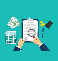 Contract icon paper document with pay agreement vector