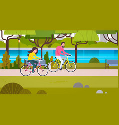 couple riding bicycles in public park man and vector image