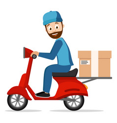 courier carries a parcel on a scooter on a white vector image