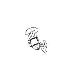 creative chef head moustache hat cartoon logo vector image