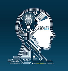 Creative head abstract circuit technology vector