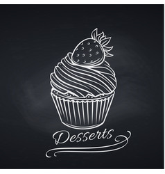 Cupcake on chalkboard pastry template vector