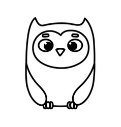 Cute animal owl bird cartoon icon thick line vector
