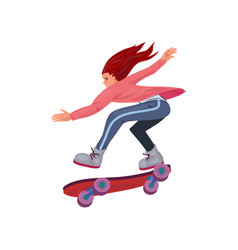 Cute red hair girl riding very fast on skateboard vector