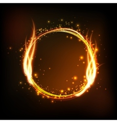 Dark background with shiny round frame with flame vector image