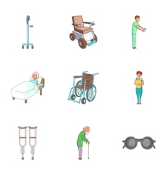 Disabled people icons set cartoon style vector image