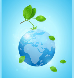 earth and green leaves vector image