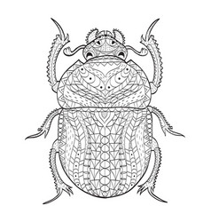 Egyptian scarab beetle coloring for adults vector