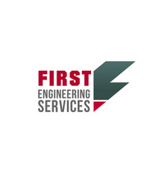 f letter icon for engineering company vector image