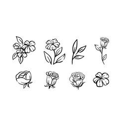 flower set sketch floral composition vector image