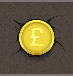 golden pound on cracked background vector image