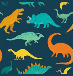hand drawn seamless pattern with dinosaurs vector image