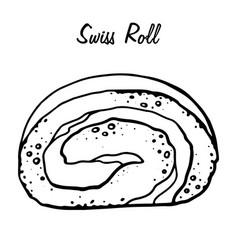 Hand drawn swiss roll sketch symbol vector