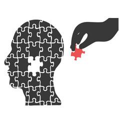 Hand took head jigsaw puzzle vector