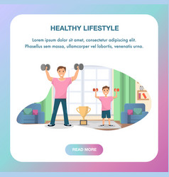 happy father and son standing training home sport vector image