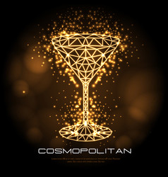 Hipster polygonal cocktail cosmopolitan neon sign vector