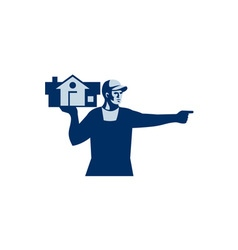 House Remover Carrying House Retro vector image