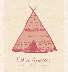 Indian wigwam tribal background vector